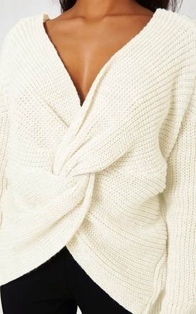 Amelia Cream Twist Front Jumper by The Fashion Bible