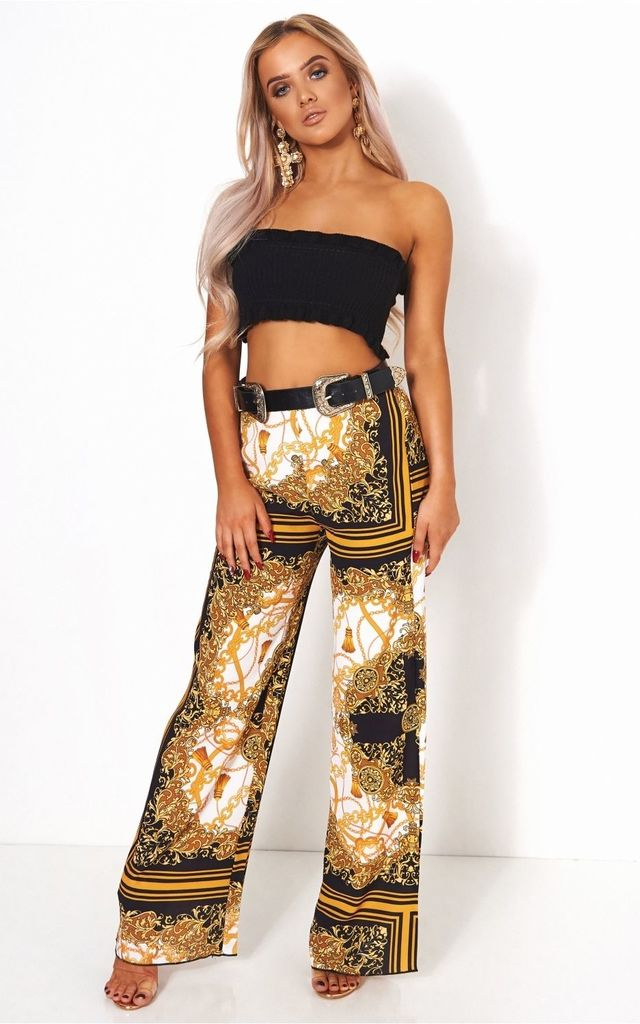 Black & Gold Scarf Print Trousers by The Fashion Bible