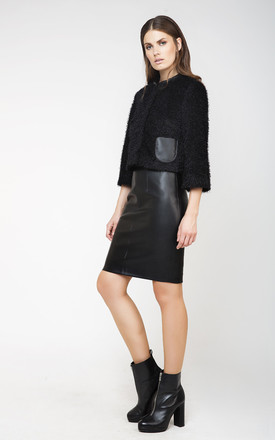 Bolero with Leather Look Detail in Black by Conquista Fashion