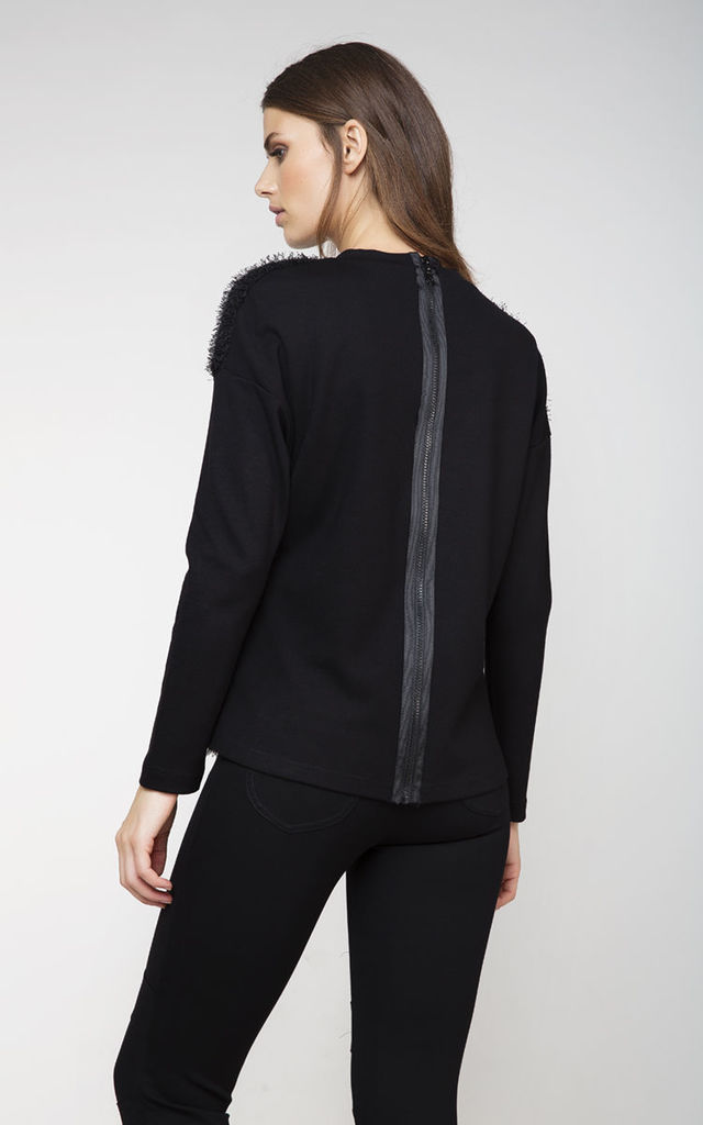 Zip Detail Long Sleeve Top by Conquista Fashion