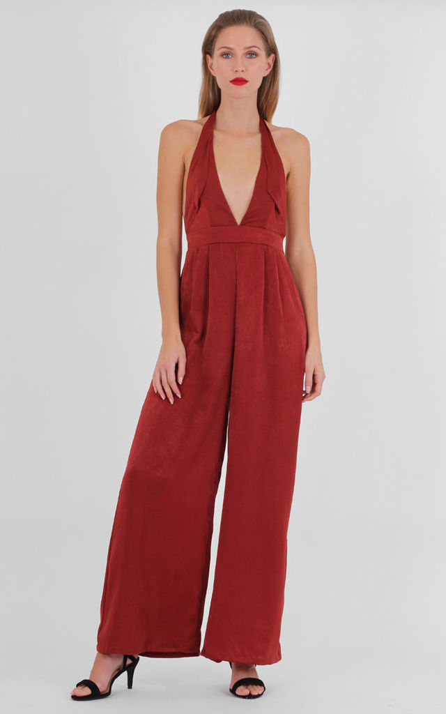 Orange Halter Neck Deep Plunge Front Open Back Flare Jumpsuit by MISSTRUTH