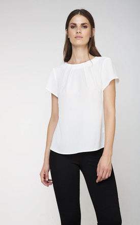 Button Detail Short Sleeve Top by Conquista Fashion