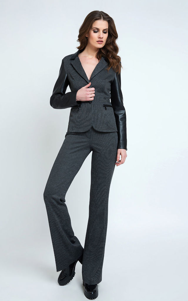 Mid Rise Straight Striped Trousers in Dark Grey by Conquista Fashion