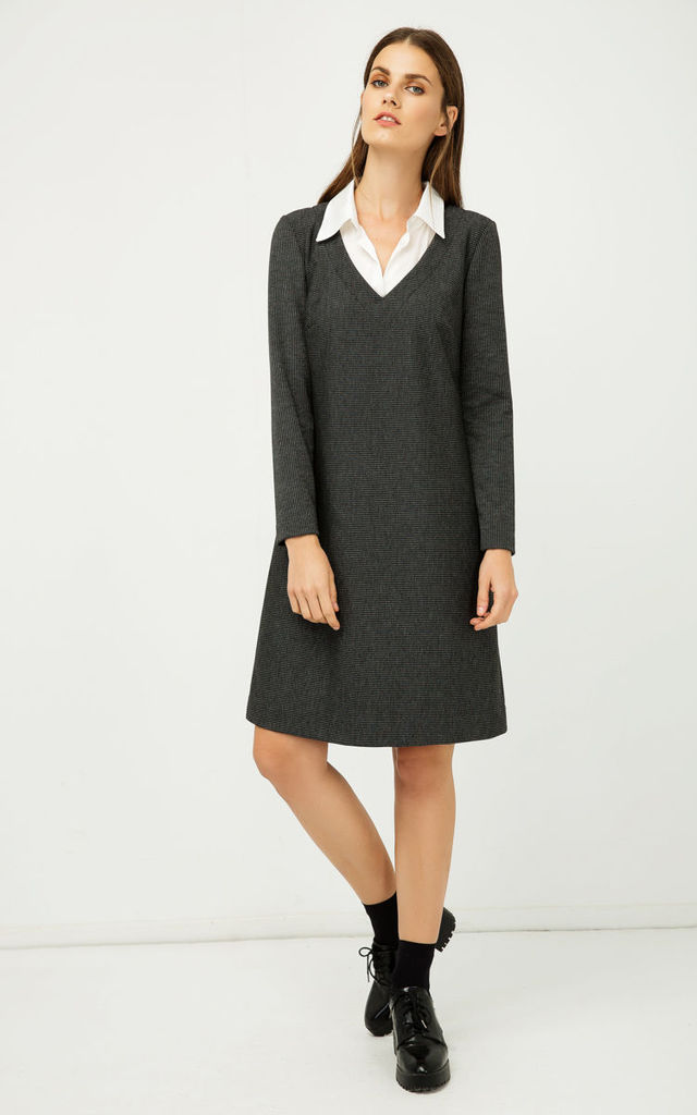 Shirt Collar Detail Dark Striped Dress in Dark Grey by Conquista Fashion