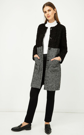 Straight Black and White Coat with Astrakhan by Conquista Fashion