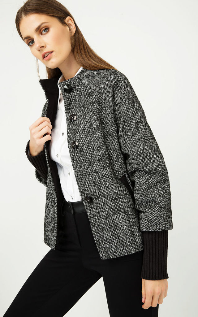 Black and White Short Jacket with Knit Cuffs by Conquista Fashion