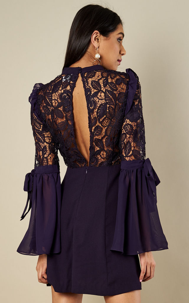 Dark Purple Bell Sleeved Mesh Centre Dress by True Decadence