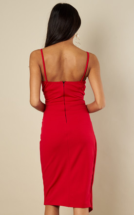 Red Pleated Wrap Bodycon Dress by Bella and Blue