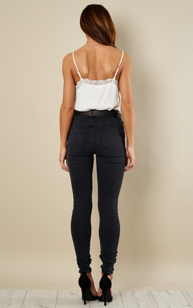 Black High Waisted Skinny Jeans by Pieces