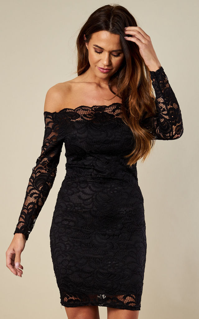 95f475301f41f Off The Shoulder Black Bodycon Lace Dress by Lilah Rose
