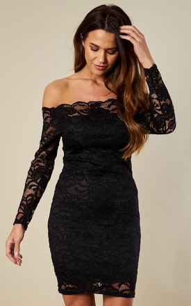 Off The Shoulder Black Bodycon Lace Dress by Lilah Rose