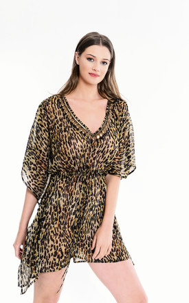 Leopard Print Kaftan with long sleeves by Kitten Beachwear