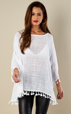 White Linen Kaftan With Pom Pom Trim by Bella and Blue Product photo