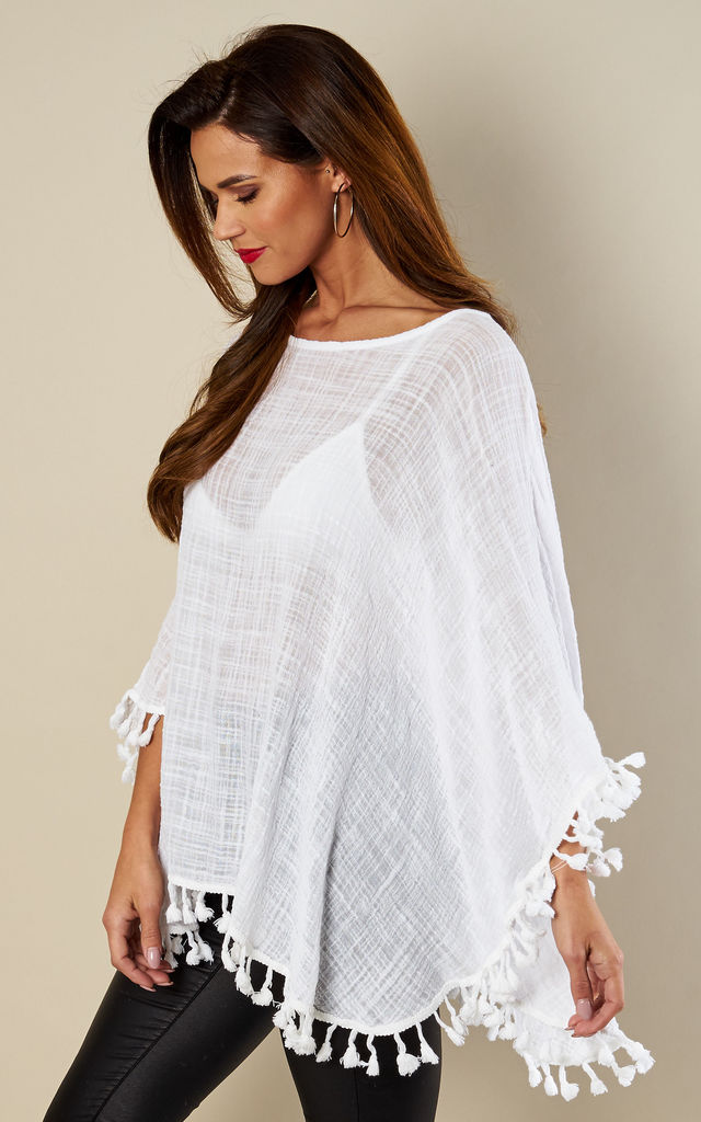 White Linen Kaftan With Pom Pom Trim by Bella and Blue