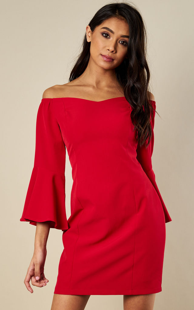 Red long sleeve off the shoulder dress by Luna
