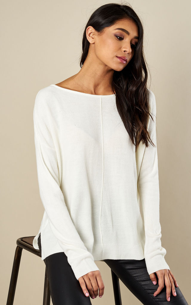 Snow White Long Sleeve Boatneck Knit by Noisy May