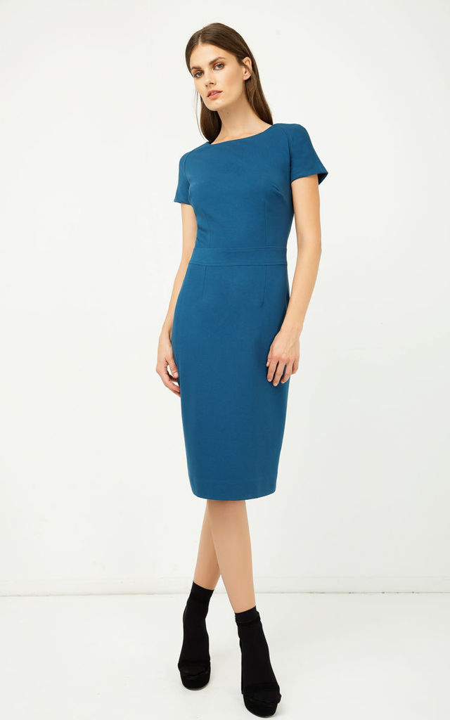 Petrol Fitted Cap Sleeve Dress by Conquista Fashion