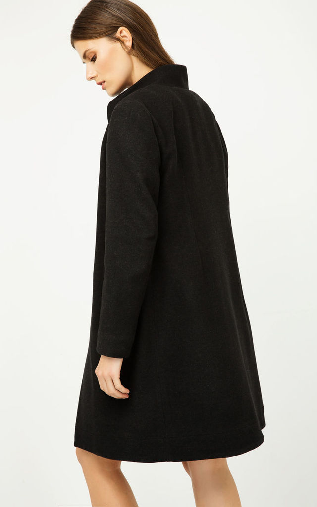 Black Coat with Button Detail by Conquista Fashion
