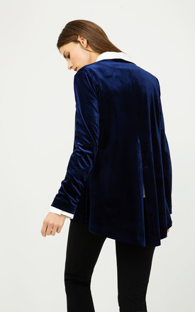 Velvet Cardigan with Ties in Blue Royal by Conquista Fashion