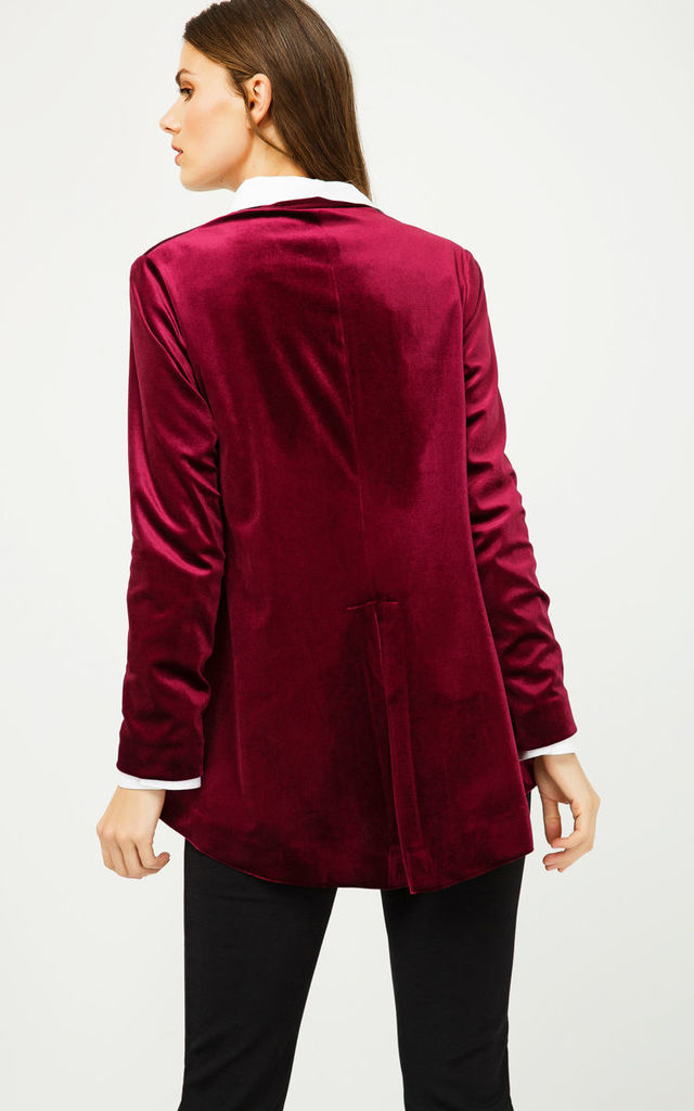 Burgundy Velvet Cardigan with Ties by Conquista Fashion