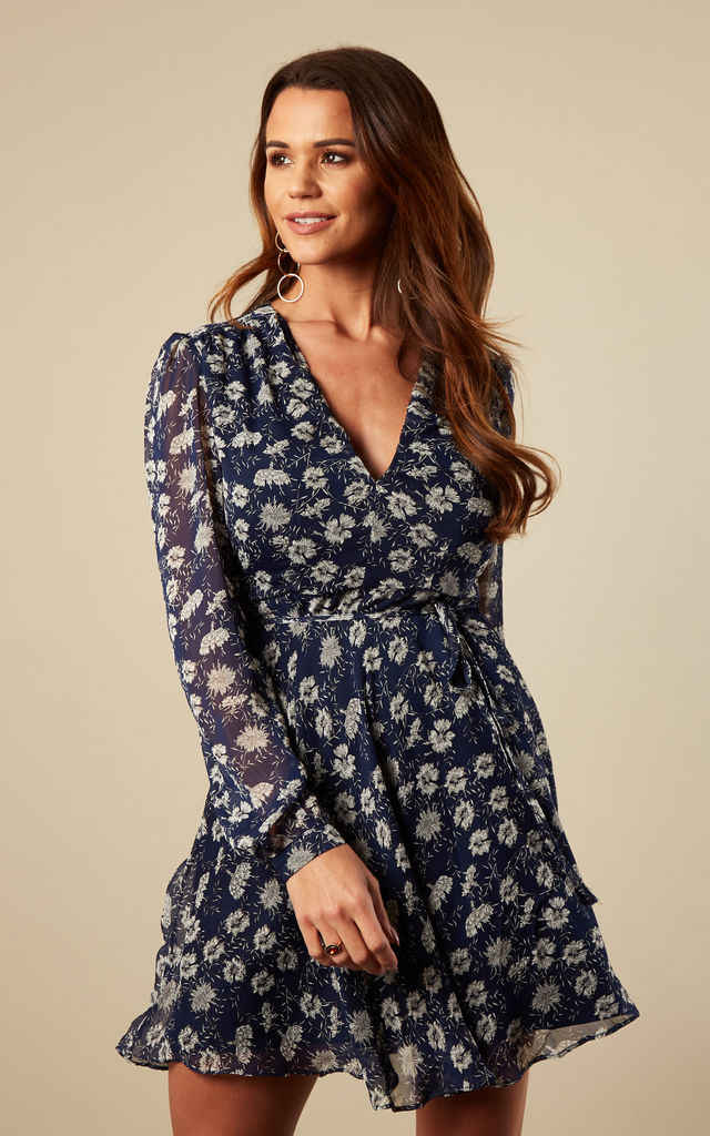 Dark Blue Floral Long Sleeve Mini Dress by Glamorous