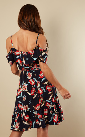 Navy Floral Cross Over Ruffled Off Shoulder Dress by Bella and Blue