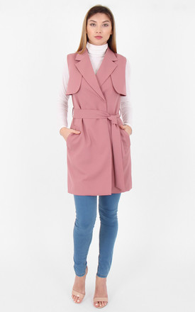 Sleeveless Collared Belted Wrap Front Belted Trench Coat by MISSTRUTH