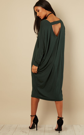 Green Scoop Neck Batwing Dress by Bella and Blue