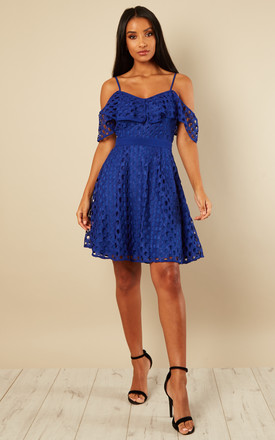 Electric Blue off the shoulder Guipure overlay dress by Luna