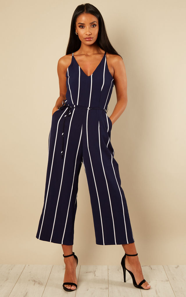 NAVY PRINTED CULOTTE JUMPSUIT by AX Paris