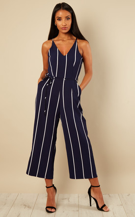 Navy Printed Culotte Jumpsuit by AX Paris Product photo