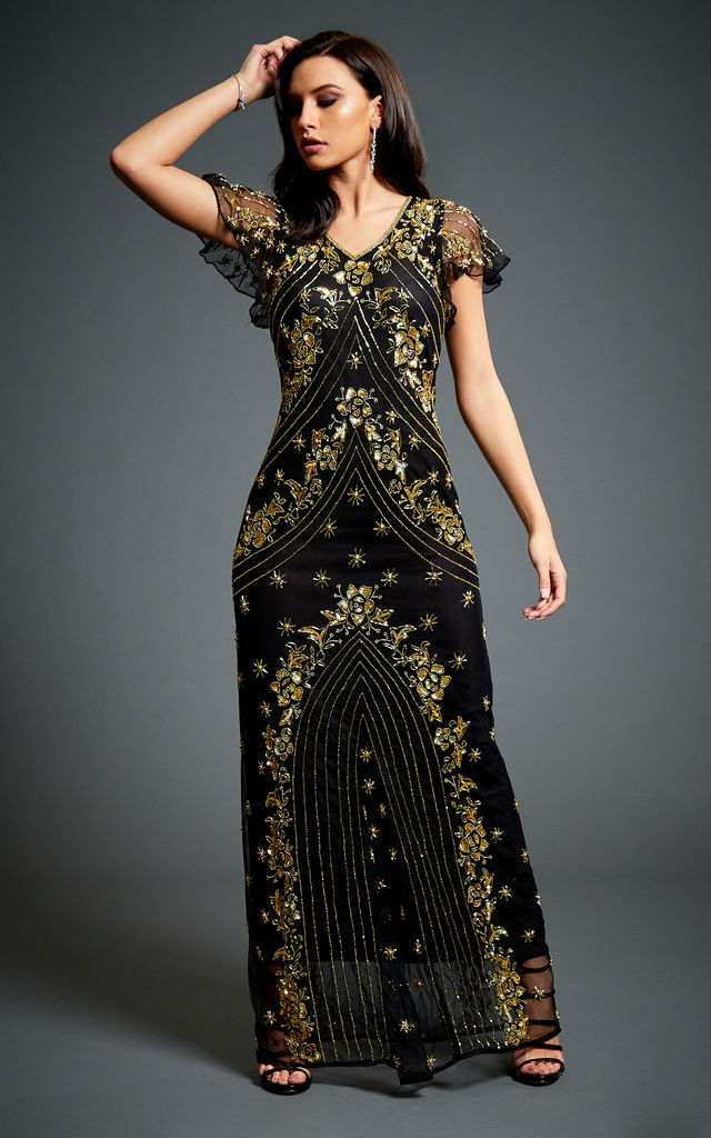 Twinkle Embellished 1920s Gatsby Evening Dress In Black Gold Jywal