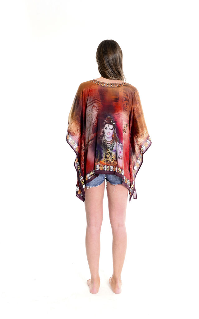 Lord Shiva Kaftan Top in Brown by Kitten Beachwear