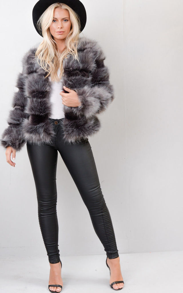 Faux Fur Panel Crop Jacket Coat Dark Grey by LILY LULU FASHION