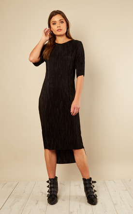 Black Pleated Step Hem T Shirt Dress by India Gray Product photo