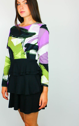 Abstract Print V-Back Peplum Top by Re:dream Clothing
