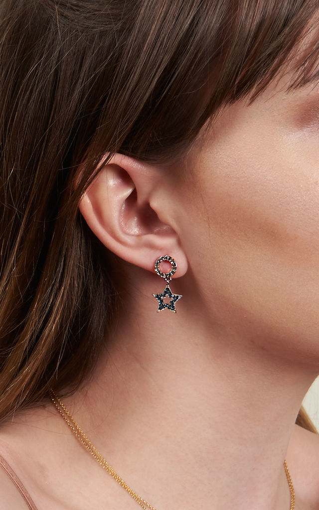 Asymmetric Star Cubic Earrings Green by DOSE of ROSE
