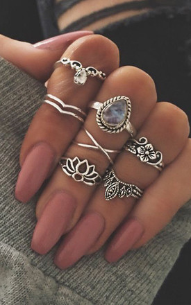 Lucia Ring Set In Silver by Kiki Belle