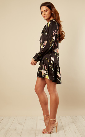 Black Ruffle Hem Floral Dress by Bella and Blue
