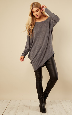 Grey Asymmetric Hem Top by Bella and Blue Product photo