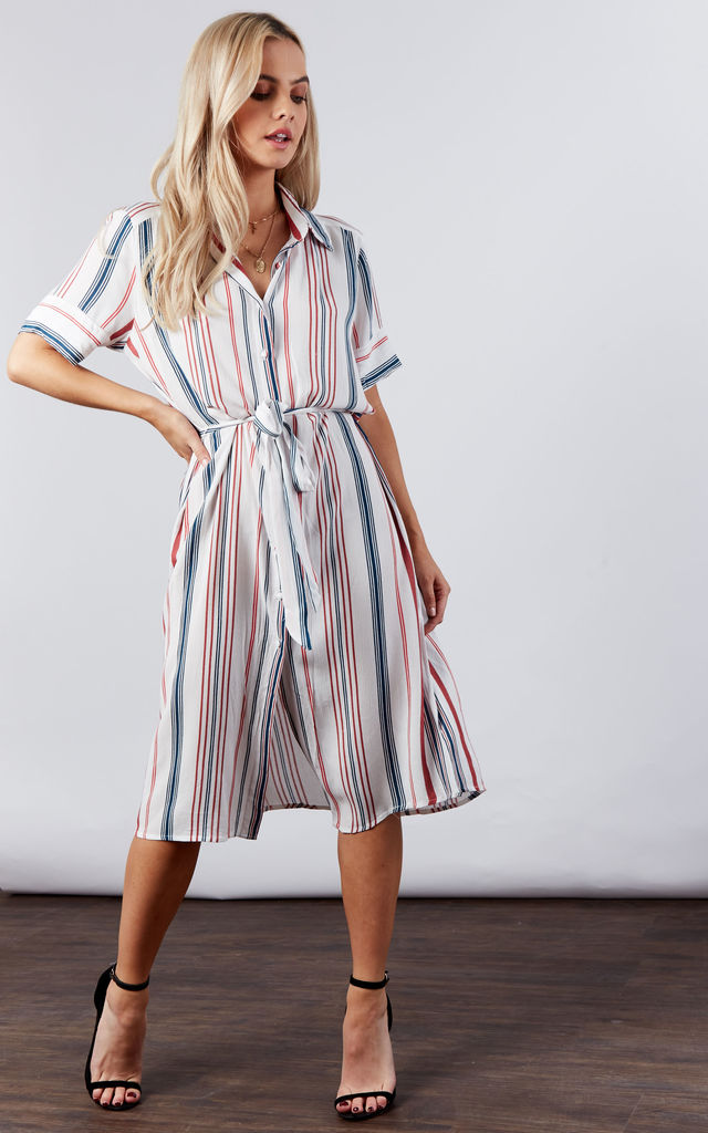 6b6ea484ea26 IVORY CORAL NAVY MIDI STRIPED SHIRT DRESS by If By Sea