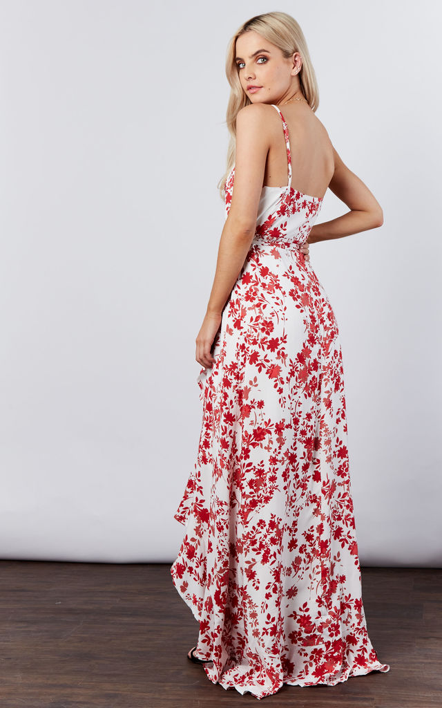 CORAL/IVORY RUFFLE PRINTED WRAP DRESS by If By Sea