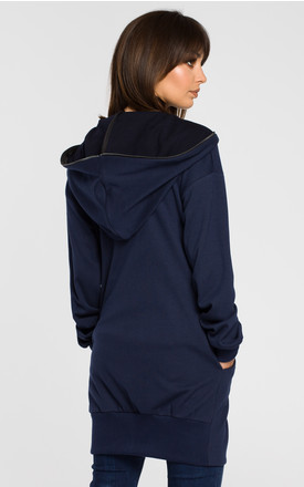 Navy blue zipped hoodie with side pockets by MOE