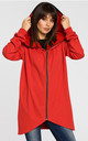 Red zipped hoodie with side pockets by MOE