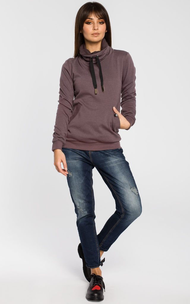 Brown high collar sweatshirt by MOE