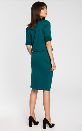 Green dress with elasticized waist and roll tab sleeves by MOE