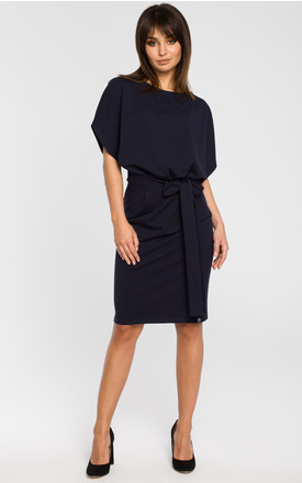 Navy blue belted dress with short kimono sleeves by MOE