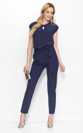 Navy Blue Tied Short Sleeve Jumpsuit by Makadamia
