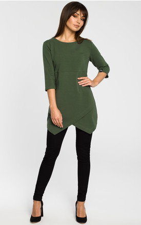 Green tunic blouse with three quarter length sleeves by MOE