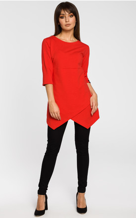 Red tunic blouse with three quarter length sleeves by MOE